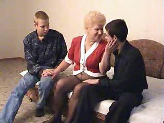Granny fucking two fellas feeling extra cum-craving today