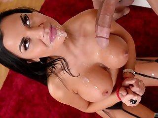 Jasmine Jae gets cum on her burly undertaking tits with her hands tied up