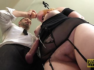 Submissive chubby redhead sprayed with reference to cum after deepthroating