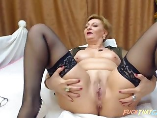 Of age woman masturbates and fucked her shaved pussy