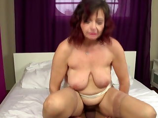 Real mature mom takes young cock purchase hairy vagina