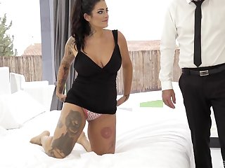 Chunky tattooed brunette Raquel Adan gets fucked in the irritant hardcore