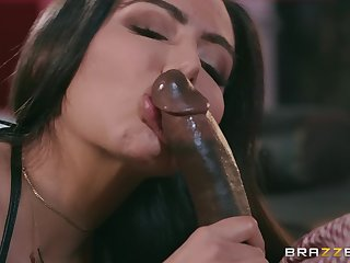 Curvy stripper babe Lela Star gets a big black learn of and cum on tits
