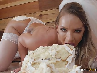 Hardcore food fetish ass fuck with bride Cali Carter