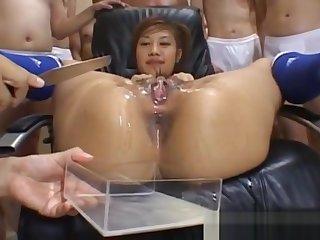 Naughty Asian teen Azusa Ayano gangbanged in hot bukkake mating