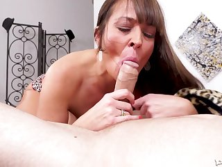 Milf cocksucker between his hands working his stiff dig up