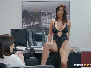 Well-endowed and horny office lesbians Isis Love and Jenna Sativa