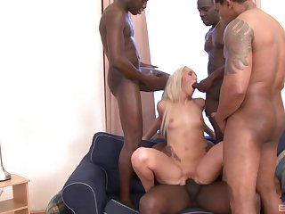 Long haired comme ci Jenny Simons gangbanged and covered thither cum