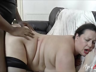 BBW fucked in the brush bald cunt by a big sulky cock