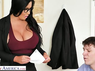 Atop simply appetizing giant breasted MILFie instructor Sybil Stallone gives titjob