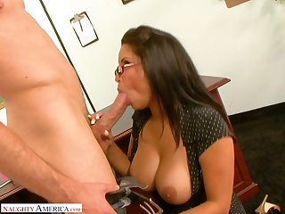 Strict big breasted MILFie tutor Sophia Lomeli gives BJ and gets fucked at bottom the chifferobe