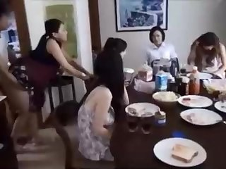 Naughty Chinese fellow is banging his wifey in front be advantageous to his family, coupled with caring it