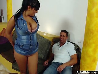 Busty Jasmine Black's broad in the beam boobs bounce as she is handsome care of a cock