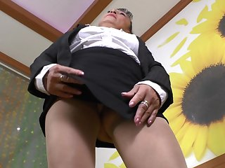 Sweet granny Karina G pleases her soft pussy with a toy