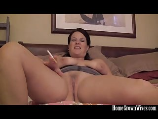 Curvy brunette wife pounded on the bed by a big cock