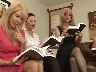 Fairy orgy in a hotel square wide Nina Hartley and her mature Theatre troupe
