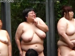 Busty Japanese BBW ladies forth big naturals