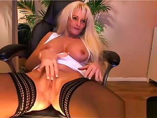 Big tit flaxen-haired mature playing on cam - Part II