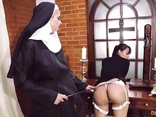 Asinine nun lesbian amulet with two amazing women