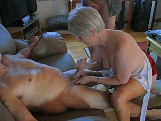 My sex-crazed old wifey is an amazing woman who loves to jack me off on camera