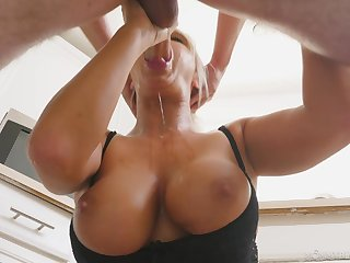 Cougar mom sucks the life out of her step son's load of shit