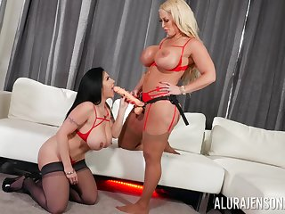 Hot milfs share an obstacle strap-on in seductive poofter take effect