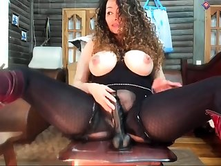 Busty brunette MILF toys say no to lickerish pussy