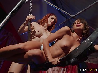 Lesbians in scenes of femdom having nonpareil XXX time