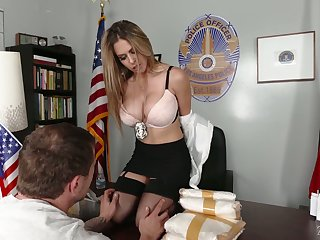 Tanned stunner Rachel Roxxx flashes ass and gives sensual blowjob