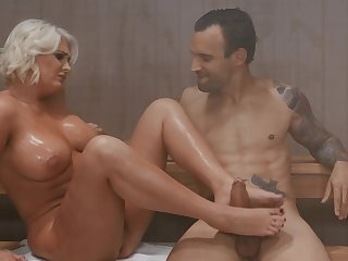 Cougar enjoys younger man's hard wood when in the sauna together
