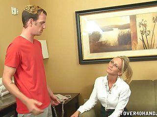 Pretty good of age Simone Sonay with glasses milks a young dick on her