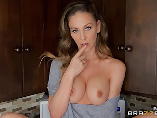 Home alone Cherie Deville plays wuth her cunt in the kitchen