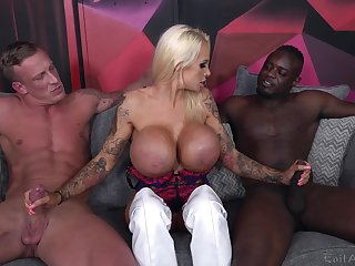 Cougar adjacent to huge tits, smashing threesome greater than four monster dicks