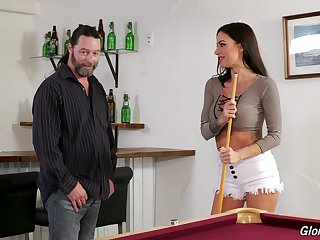 Adventurous sexy busty brunette Gia DiMarco works on stout glory hole BBC