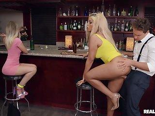 Adventurous blonde darling Bridgette B.'s hardcore boning in a bar