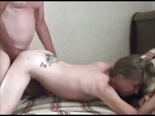 My old fellow fucks his flat chested tattooed old wife
