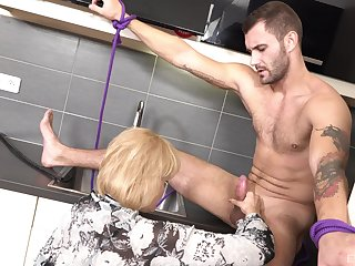 Tied up slave alms-man gets his cock sucked and a mature rides him