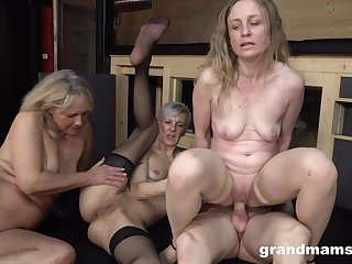 Naked grannies are sharing their first cock with an increment of it's staggering