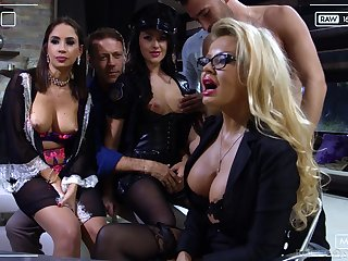 Slutty bitch Carolina Vogue is brutally hammered by a handful of well hung studs
