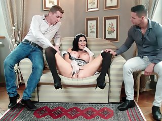 MILF to maid uniform tempted off out of one's mind fucking to threesome scenes