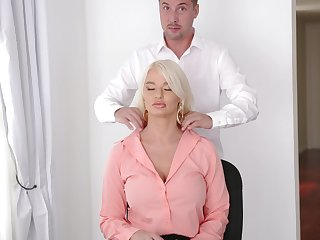 Young trainee fucks sex-starved bossy bitch London River beg for to lose his job