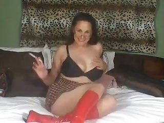 Nasty whore looks awe-inspiring in her plaid skirt together with she has an self-abuse with regard to her toy