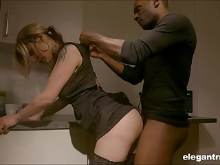 Sexy housewife enjoying her BBC kink while her shush is on a business impetus