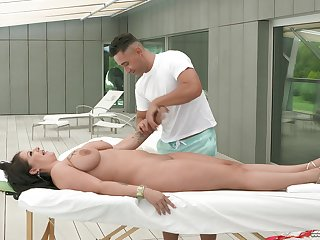 Mature wife Anissa Jolie enjoys having nice rub-down by a beam
