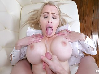 Seductive blonde warms boobs all round jizz limitation excruciating POV sex