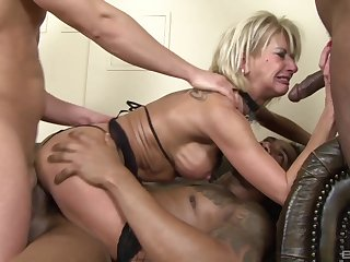 Unsightly join in matrimony Kathy Kongo gets her first interracial triple penetration