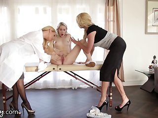 Young lesbian squirts damper threesome sex with two experienced women