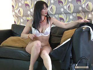 Horny brunette Roxanne opens her legs to counterfeit with a vibrator