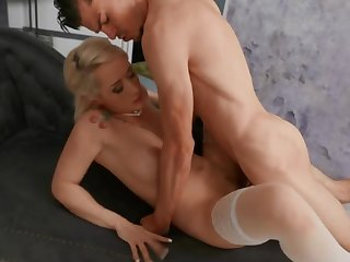 Luxurious blonde in stockings analyzed by aroused partner