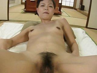 Horny Japanese mature Rie Katano opens her legs to be pleasured